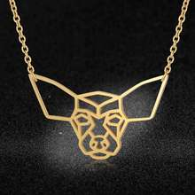 100% Stainless Steel Animal Chihuahua Fashion Necklace for Women Personality Jewellery Wholesale Special Gift(China)
