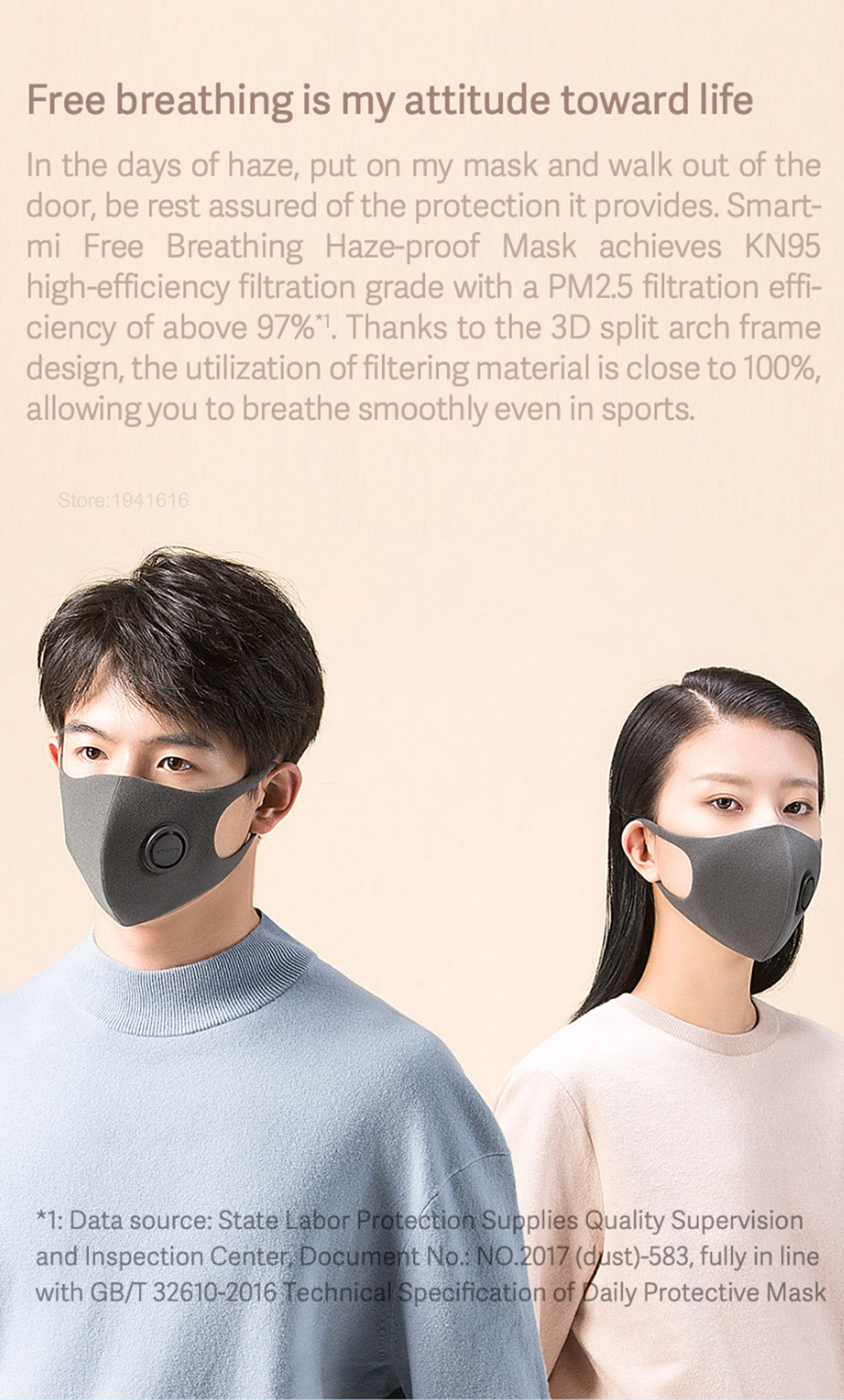 2020 New Style Xiaomi Mijia Smartmi Mask Light Breathing Anti-fog Double Layer Meltblown Masks In Stock