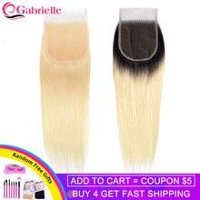 Gabrielle Blond Haar Vetersluiting Braziliaanse Straight Human Hair Color 613 T1b/613 Sluiting 100% Remy Hair Extensions 8  22 inch