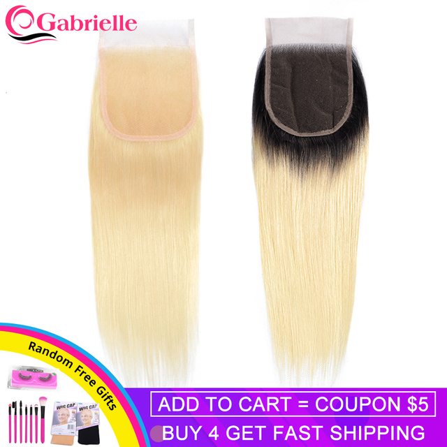 Gabrielle Blonde Hair Lace Closure Brazilian Straight Human Hair Color 613 T1b/613 Closure 100% Remy Hair Extensions 8 22 inch