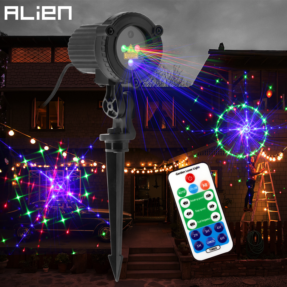 ALIEN 24 Patterns Red Green Blue Outdoor Motion Static Laser Projector Garden Holiday Christmas Tree House Wall Waterproof Light