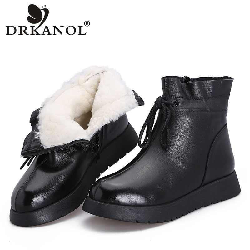 DRKANOL 2019 su geçirmez kadın kar botları 100% hakiki deri yün platformu yarım çizmeler kadınlar için kış kürk sıcak düz ayakkabı