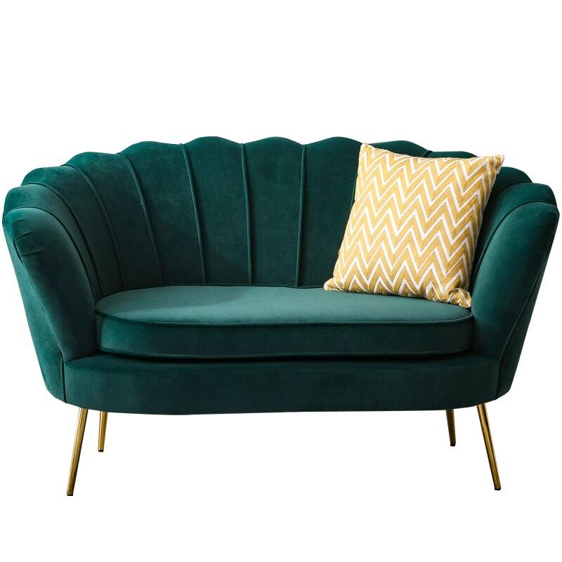 Canapé simple nordique net rouge lumière luxe balcon chambre magasin de vêtements tissu flanelle lit et petit déjeuner ins métal