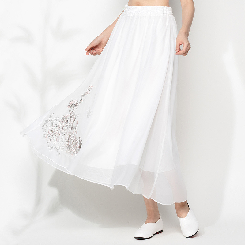 A6443 Feimina 2019 Spring And Summer New Style WOMEN'S Dress National Wind Double Layer Big Hemline Embroidery Skirt