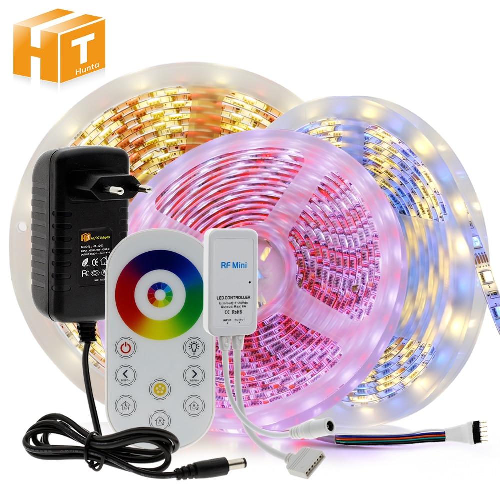 Tira de luz LED 5050 RGB / RGBW / RGBCCT cinta de luz led Flexible 60LEDs/m 5M + mando a distancia táctil + enchufe adaptador DC12V