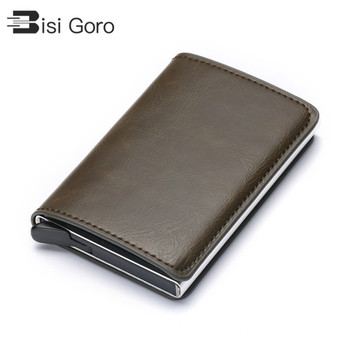 BISI GORO RFID Aluminium Alloy Credit Card Holder PU Leather Wallet for Men Women Automatic Pop Up Case
