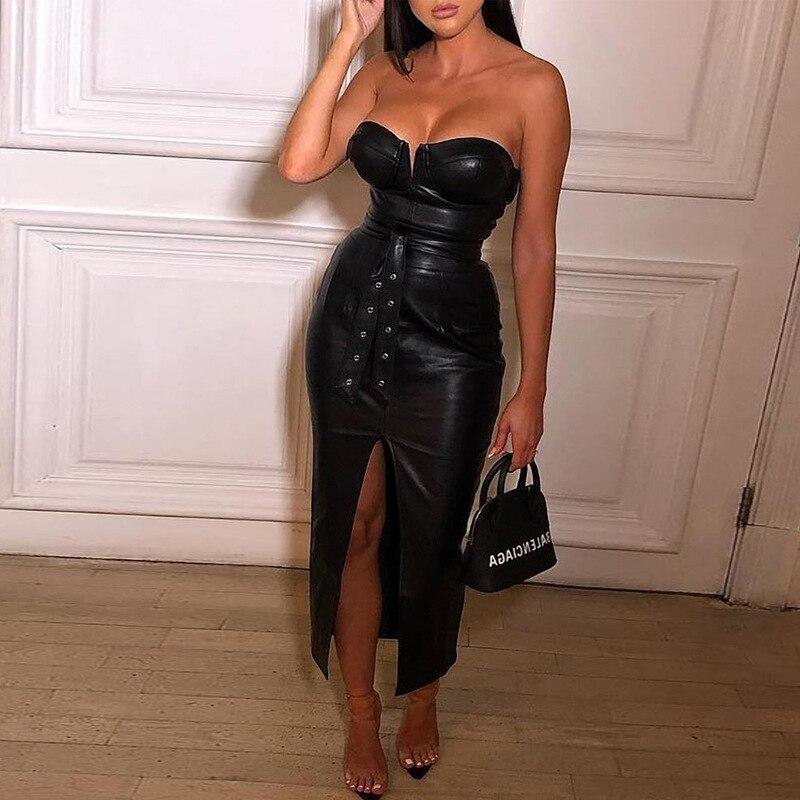 Горячая Распродажа черное платье из искусственной кожи с открытой спиной женское сексуальное праздничное платье без бретелек vestidos