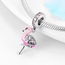 Flamant rose scintillant en argent Sterling 925, perles fines scintillantes, CZ, adapté à la fabrication originale de Kataoka Bracelets à breloques