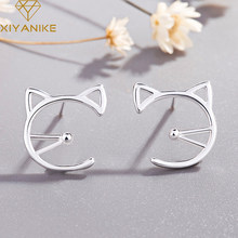 XIYANIKE 925 Sterling Silver New Simple Hollow Cat Prevent Allergy Stud Earrings for Women Wedding Small Ear Hoops Jewelry(China)