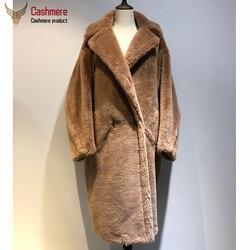 Abrigo de piel de oso de peluche para mujer, abrigo de Alpaca para mujer, abrigo de lana holgado para mujer, abrigo grueso cálido para invierno, abrigo clásico rojo para mujer