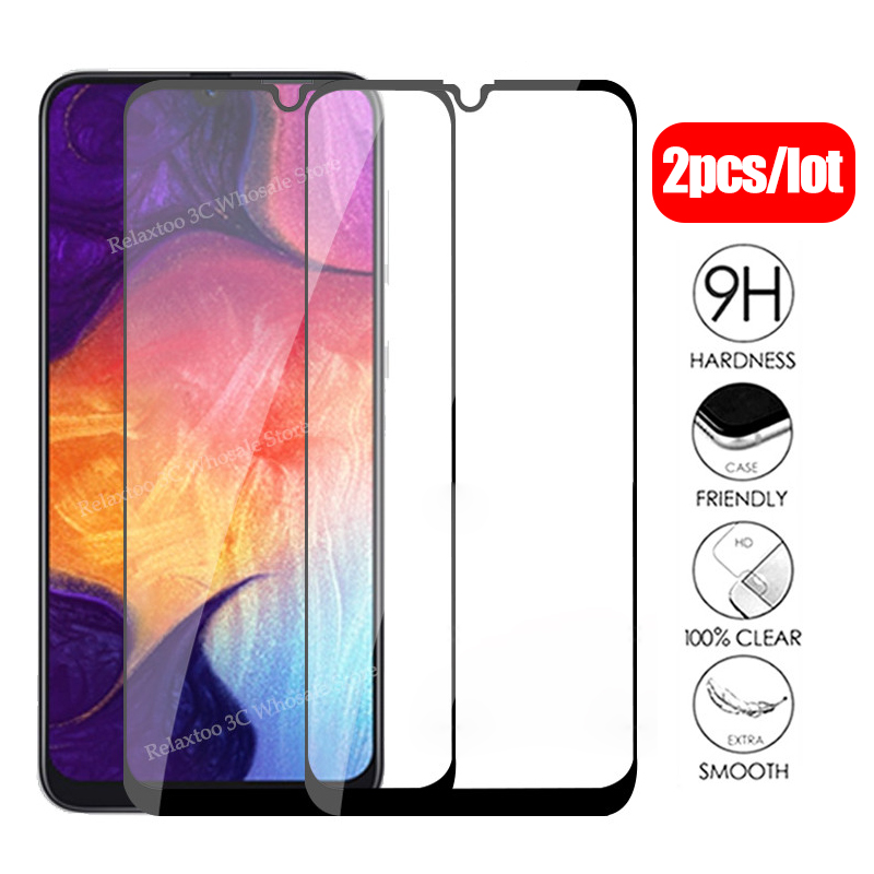 2pcs Protective Glass For Samsung A50 2019 3D Full Cover Screen Protector On The For Galaxy A10 A20 A30 A20E A40 A70 A 50 Film