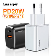 Essager 20W USB Type C chargeur pour iPhone 12 Pro Max Mini Charge rapide 3.0 QC PD USBC USB-C Charge rapide voyage chargeur mural