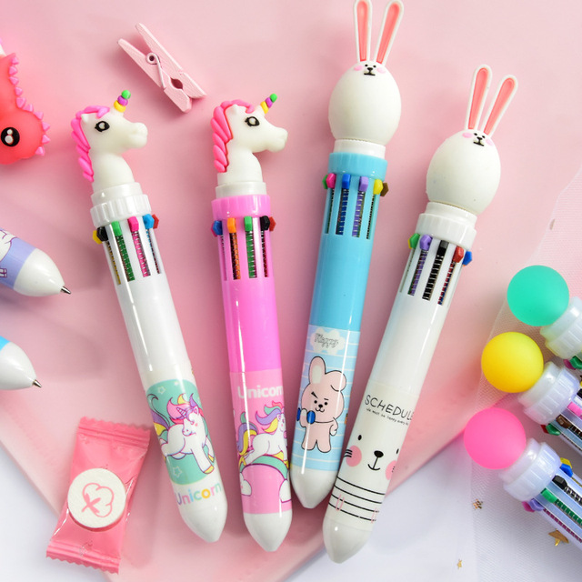 10 Colors Cute Animal Cartoon Ballpoint Pen School Office Supply Stationery Papelaria Escolar Multicolored Pens Colorful Refill 1