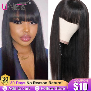 Unice Hair Chinese Bang Human Hair Wig Pre Plucked Straight Wigs For Women Glueless Transparent Lace Front Human Hair Wigs(China)