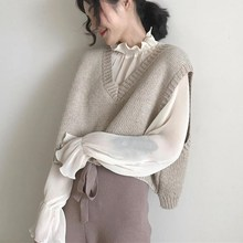 Autumn Women Sleeveless Short Knit Vest Korean Style Elegant Casual All-Match Sweater