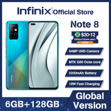 Infinix Note 8 6GB 128GB Global Version Mobile Phone 6.95'' HD+ Display 5200mAh Battery 18W Fast Charge Helico G80 Smart Phone