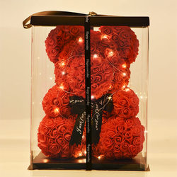 Dropshiping 40cm Bear of Roses with LED Gift Box Teddy Bear Rose Soap Foam Flower Artificial New Year Gifts for Women Valentines