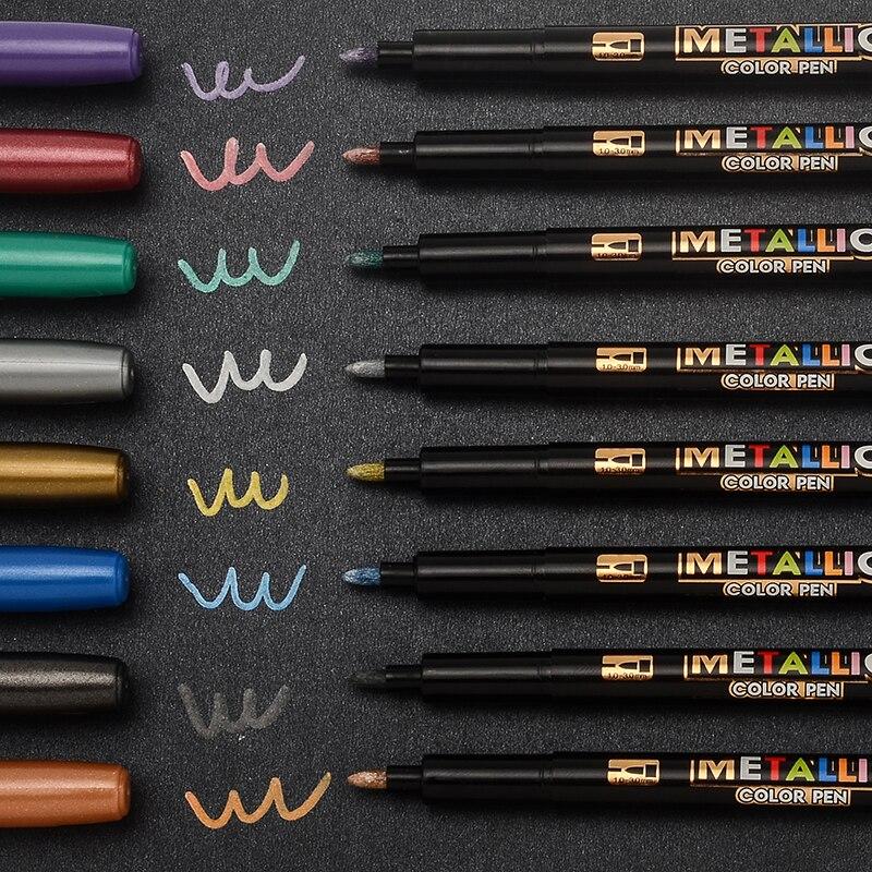 8 cores marcador metálico tinta de água marcador escova caneta desenho diy álbum de fotos papel de vidro cor marcador desenho presente de escrita