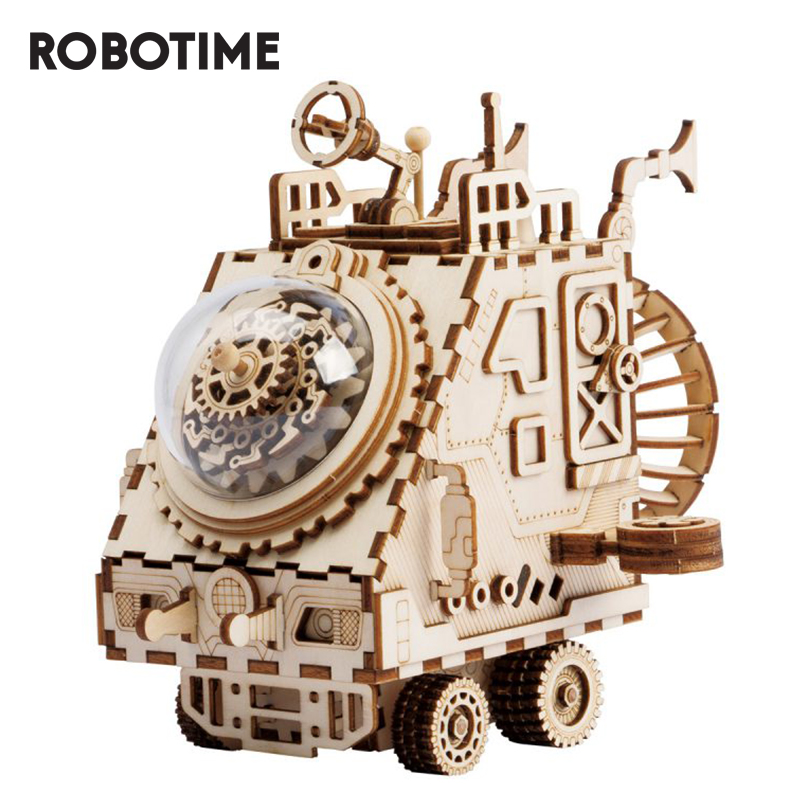 Robotime DIY Space Vehicle Steampunk Music Box 3D Wooden Puzzle Musical Toys Assembly Model Building Kit For Drop Shipping AM681