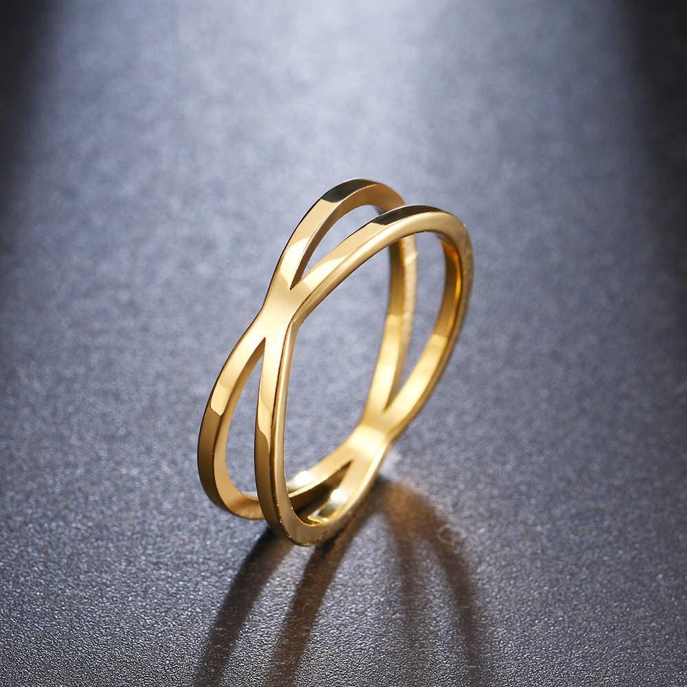 CACANA Böhmischen Vintage Kreuz Gold Ringe für Frauen Hochzeit Trendy Edelstahl Kette Schmuck Große Antike Ringe Anillos W83