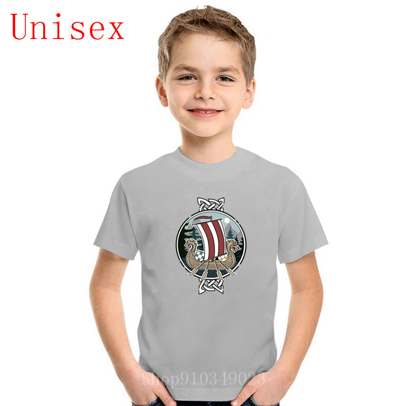 Children T Shirts Scenic Nordic Vikings T-Shirts Dragon Boat Vintage kid Short Sleeve Tee O Neck boy clothes girl clothes Cotton
