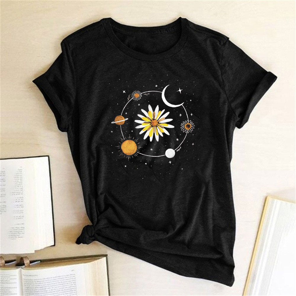 Women's T shirt Sunflower Moon Print Harajuku Women Tee Shirt Femme Casual T shirt Summer 2020 Top Ldies Clothes Camisas Mujer|T-Shirts| - AliExpress
