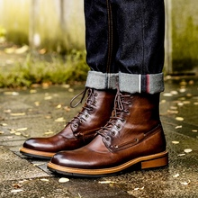 Ankle-Boots Western-Shoes Toe-Heels Desert-Riding Handmade Military Genuine-Leather Men's
