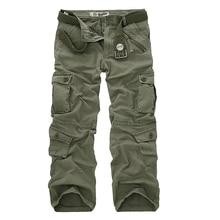 Dropshipping pamuk kargo pantolon erkekler askeri tarzı taktik egzersiz düz erkekler pantolon rahat kamuflaj erkek pantolonları