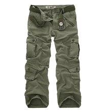 Dropshipping כותנה מכנסיים מטען גברים בסגנון צבאי טקטי אימון ישר גברים מכנסיים מזדמנים הסוואה איש מכנסיים