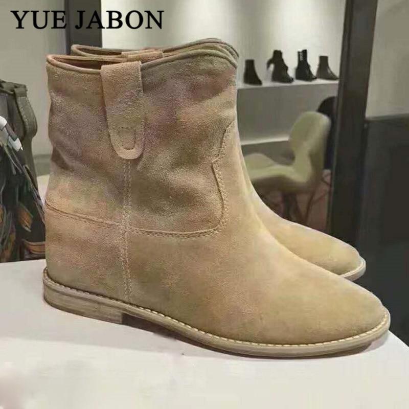 Classique Chelsea rétro Nude daim bottines pour femmes plat/augmentant talons botas mujer confortable hiver zapatos de mujer - 3