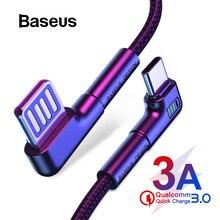 Baseus usb type-C кабель для samsung S10 S9 Typc C кабель Quick Charge 3,0 USB C кабель для huawei Xiaomi 8 7 светодиодный USB зарядный кабель