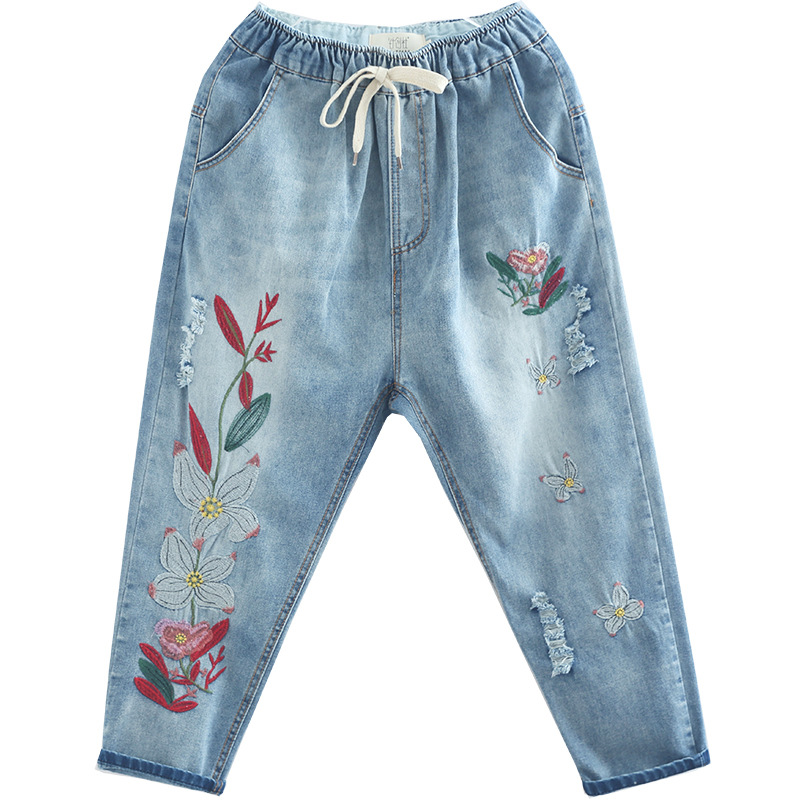 2019 Spring New Style Literature And Art Hand-Painted Flower Embroidered Lace-up Washing Faded Loose-Fit Jeans Women's