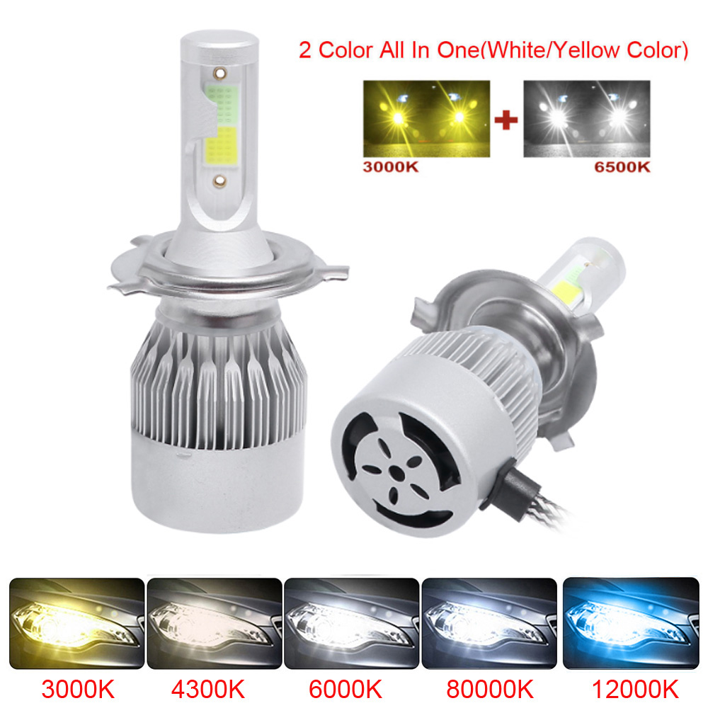 Car 3000K 6000K H7 Dual Color H4 LED Bulb Headlight White Yellow 76W COB LED Headlights Fog Light H1 H3 H11 9005 9006 2Pcs image