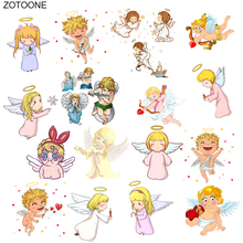 ZOTOONE Cute Cupid Angel Boys and Girls Patch Ironing Heat Transfer for Clothing Iron on T-shirt DIY Heart Stickers O
