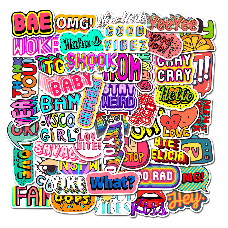 50 PCS Cartoon English Alphabet Vocabulary Sticker For Skateboard Laptop Suitcase Case Table Chidren Toy Decal Stickers F4
