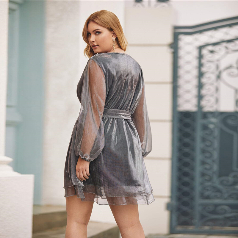 Plus Size Grey Surplice Wrap Belted Metallic Organza Dress