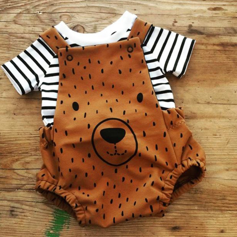 0-3Years Newborn Boy Girl Cute Bear Clothes Stripe T-shirt+ Bib Pants Overalls Outfits