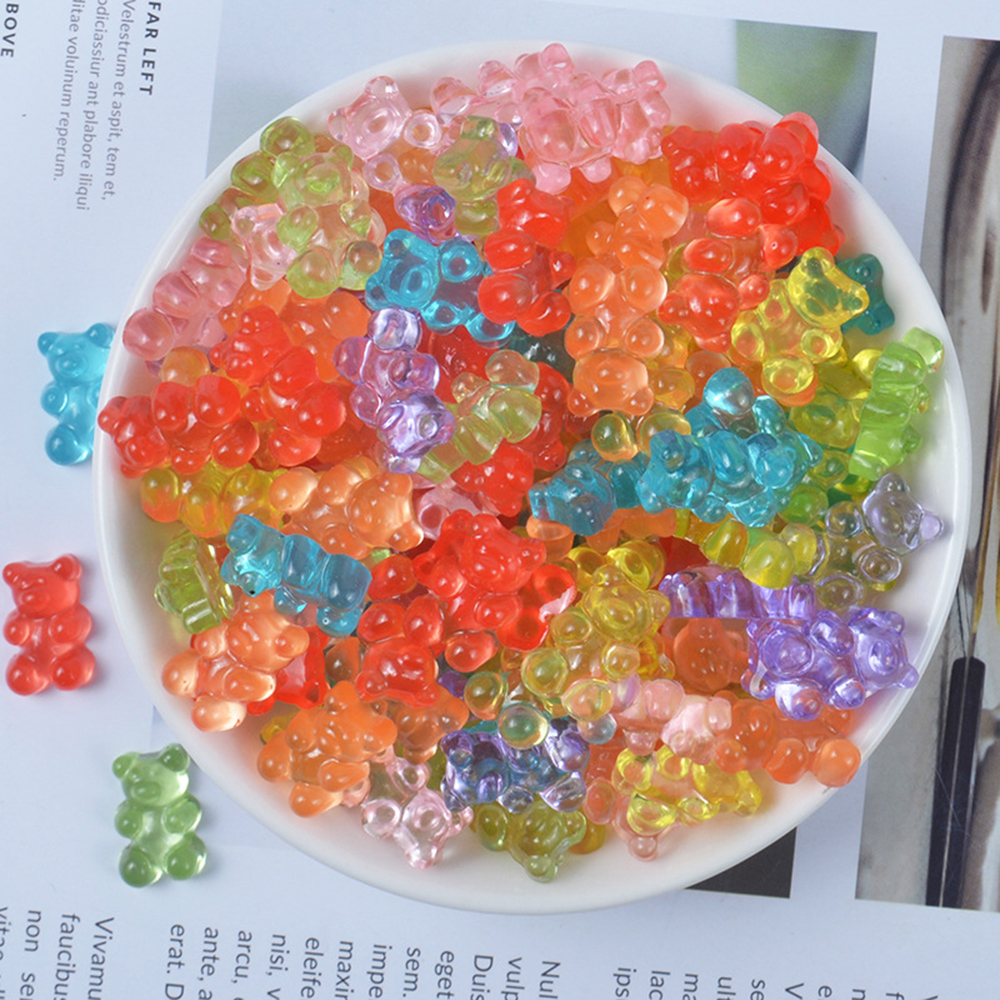 DIY Mini Bear Charms For Slime Addition Sprinkles Candy Polymer Filler Modeling Clay Supplies Lizun Slime Box For Children Toys