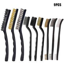 9pcs Wire Brush with Stainless Steel Brass Nylon for Removal Small Wire Brush for Cleaning Welding Slag Rust Dust