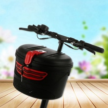 Electric bicycle front frame car basket mountain bike plastic special storage with lock