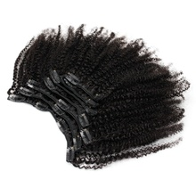 Eseewigs 4b 4c Clip In Hair Extensions Afro Kinky Curly Brazilian Remy Human Hair 7pcs/Set 120g Natural Black eseewigs afro kinky curly human hair ponytail for women natural color remy hair 1 piece clip in drawstring 4b 4c ponytails