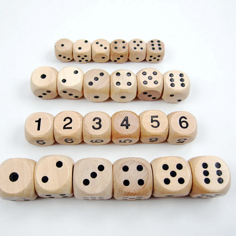 10 Pcs/set Point/Digital Dice 16mm Dice Set Wooden Cubes Round Coener For Kid Toys Board Games
