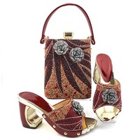 Fashionable wine women pumps with crystal decoration flower style african dress shoes match handbag set MD013,heel 9CM