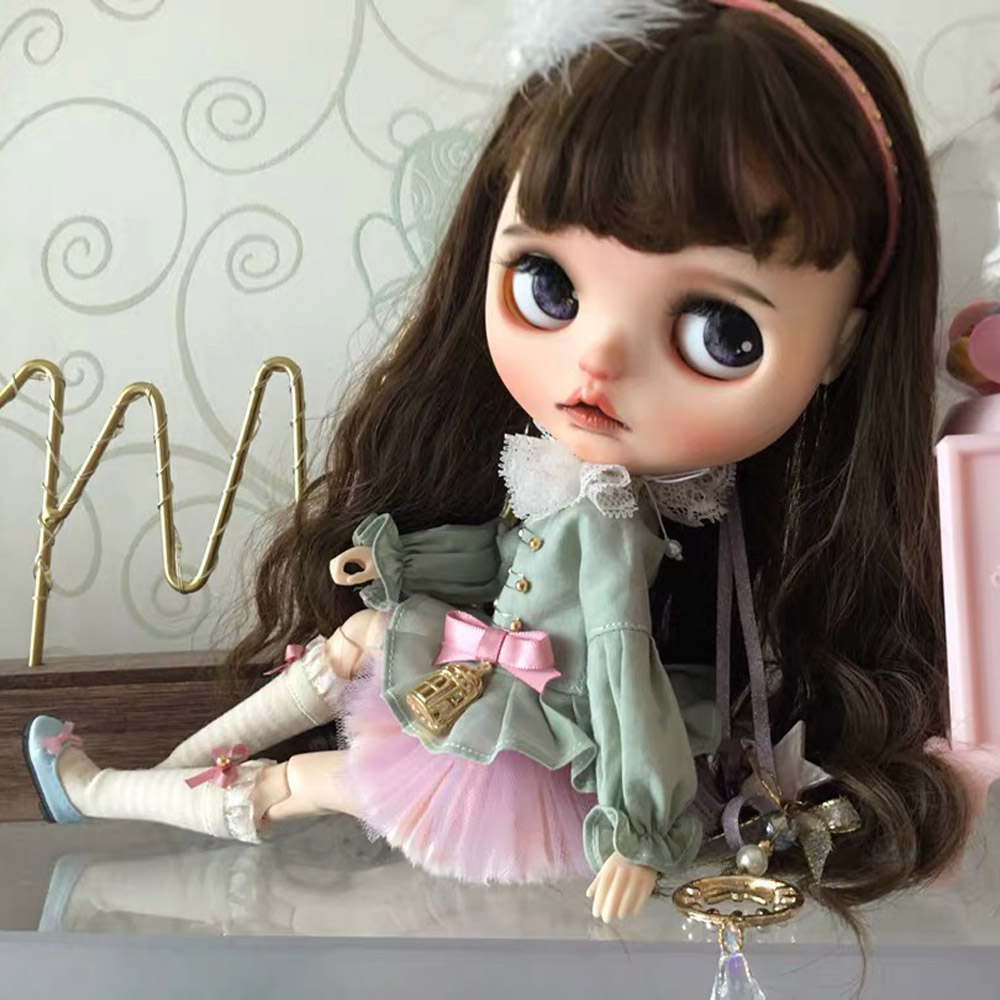 5pcs/lot Blyth Clothes Suitable For Joint Doll For Licca Azone Ob27  OB24 Headdress + Bib + Jacket + Skirt + Socks