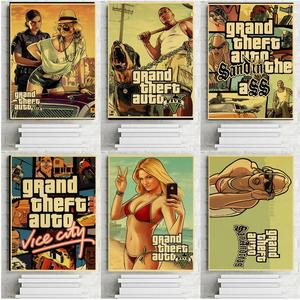 Grand Theft Auto GTA 5 Game Retro Kraft Paper Poster Printed Wall Pictures for Living Room Vintage Decorative Wall Stickers(China)