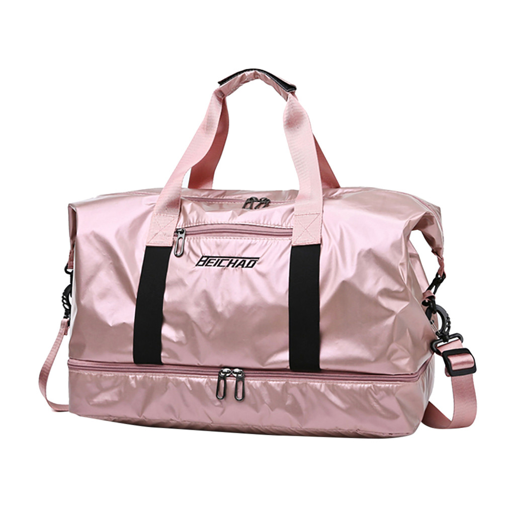 Nylon Women Men Travel Sports Gym Shoulder Bag Large Waterproof Nylon Handbags Dry And Wet Separation Sport Travel Bags