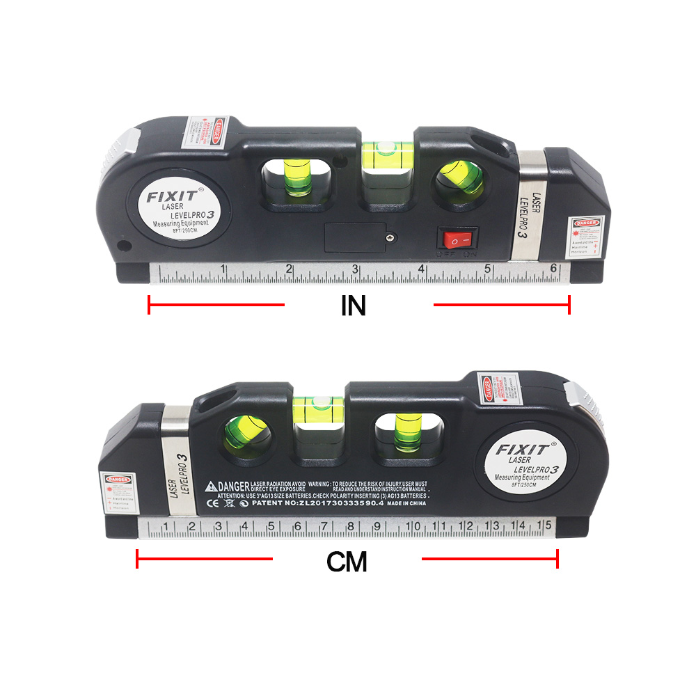 Laser Level Horizontale Vertikale Mess Werkzeuge mit Metrischen Herrscher 2,5 m Mehrzweck Level Laser