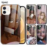 Beauty Afro Girl-funda de vidrio templado para iPhone, 11, 12 Pro, X, XR, 7, 8, XS, Max, 6, 6S Plus, SE, 2020