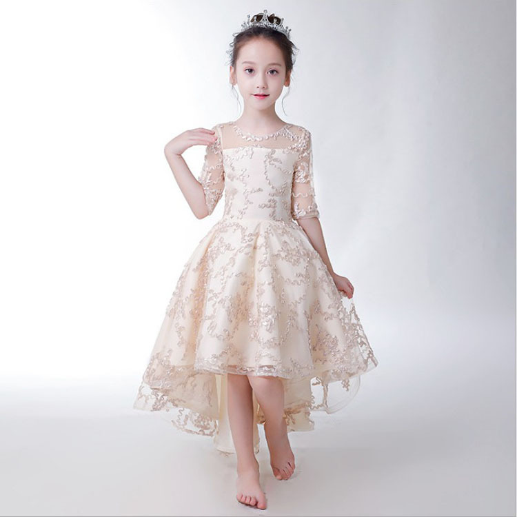 CHILDREN'S Dress Princess Dress Girls Small Tailing Catwalks Little Flower Girl Piano Costume Performance Host New Style Spring