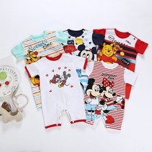 2019 Summer Disney Baby Rompers Mickey Baby Girl Clothes Minie Baby Girl Clothes Catoon Infant Jumpsuits Hot Sale Kids Clothes cheap COTTON ModaL Microfiber cartoon Unisex Short O-Neck baby clothes Fits true to size take your normal size Covered Button